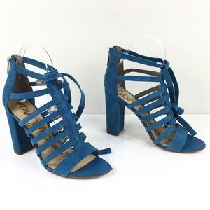 NWOB SAM EDELMAN TURQUOISE LACE UP CAGE SANDALS 8